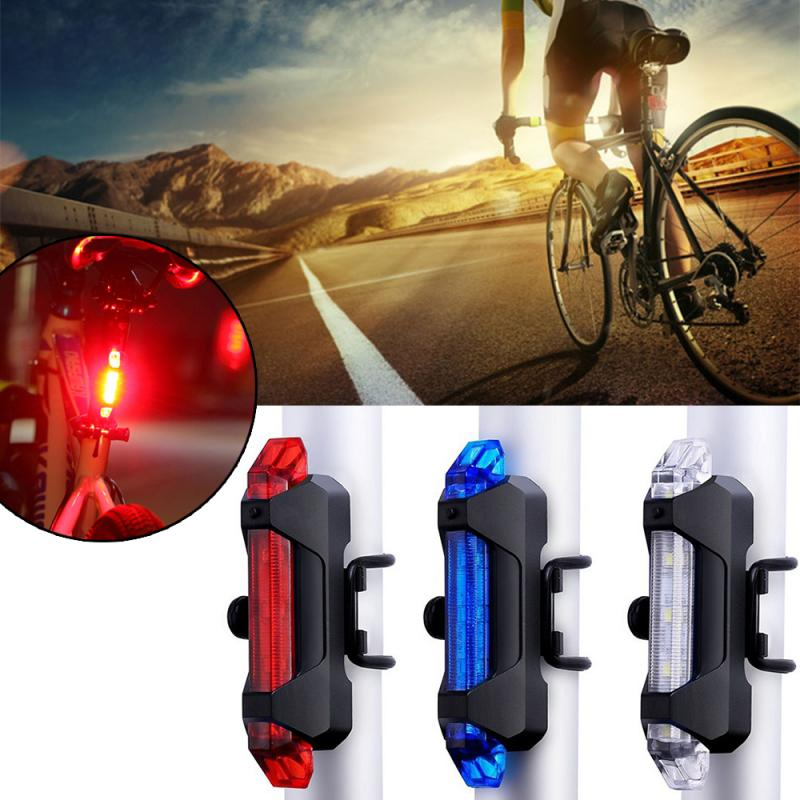 Rechargeable Bicycle Bike LED Tail Light Cycling Safety Warning Rear Flash Lamp