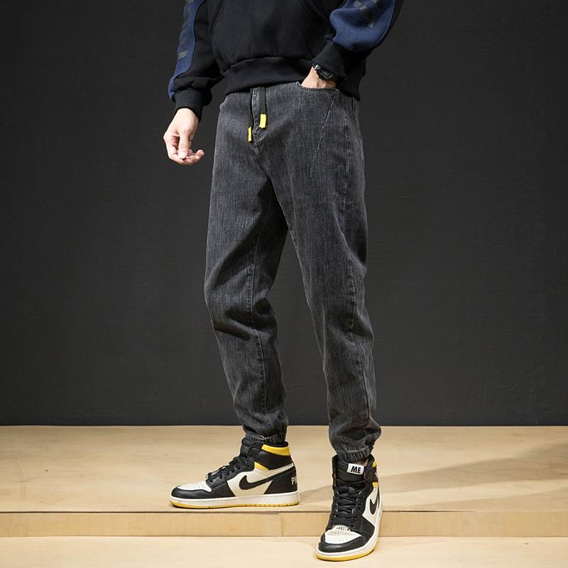 Fashion Streetwear Men Jeans Loose Fit Retro Black Gray Denim Cargo Pants Harem Jeans High Quality Hip Hop Jeans Men Joggers