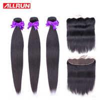 Allrun Brazilian Hair Weave Bundles With Frontal Straight Hair Bundles With Closure Human Hair Bundles With Frontal Non Remy