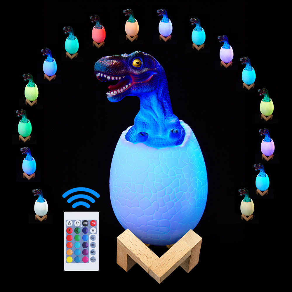 Silicone Dinosaur Egg 3D Night Light Rechargeable 3 Color Tap Control Lamp Lights 16 Colors Change Remote LED Light Gift