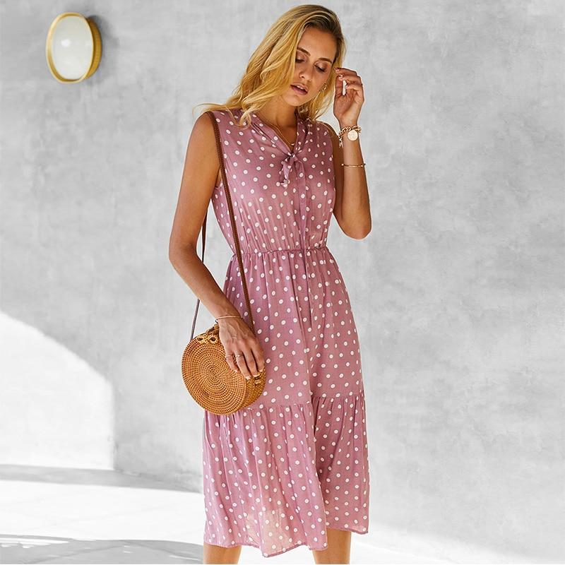2021 Summer New Polka Dot Sleeveless Long Dress Women Casual V Neck High Waist Medium Long Tank Dresses Ladies