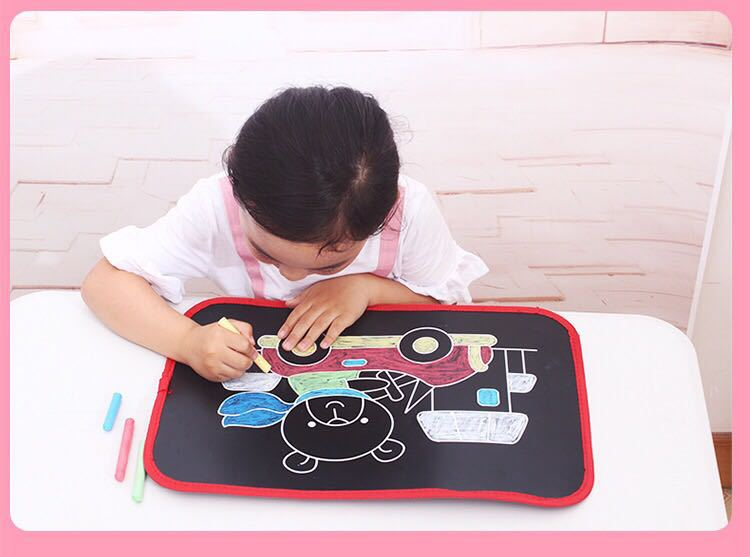 Children Multi-functional Portable Sketchpad Placemat Dust-free Chalk Canvas Kids Color Painted Graffiti 2-12-Year-Old Toy