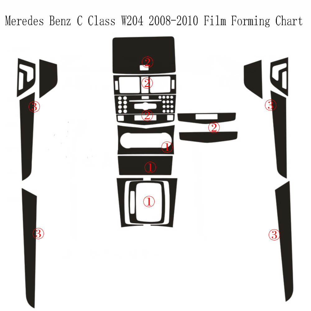 For Benz C Class W204 2008-2010 Interior Central Control Panel Door Handle 5DCarbon Fiber Stickers Decals Car Styling Accessorie