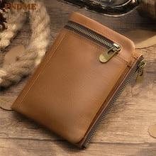 PNDME high quality genuine leather men's women's wallet designer luxury vintage soft cowhide credit card holder female purse