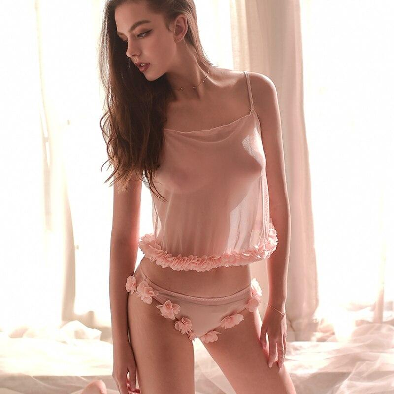 Pajamas For Women French Sleepwear Sling Transparent Sweet Round Neck Lace Flower Pajamas Suit Underwear Set Sexy Lingerie