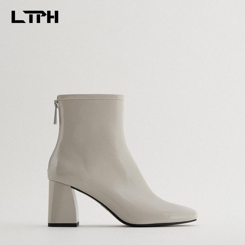 LTPH 2020 new women's shoes autumn camel black boots back zipper square head nude boots high heel fashion short boots women