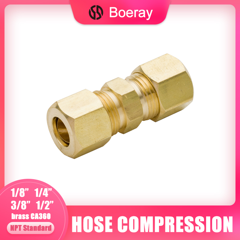 Boeray 2pcs Brass Tube Fitting 1//2 to 1//2 Compression Union Fitting