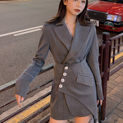 LANMREM 2020 NEW  summer and autumn turn-down collar full sleeves single breasted seseal patchwork gray color two pieces set