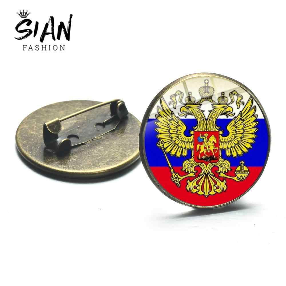 SIAN Nova Cabeça Dupla Águia Badge Pin Emblema Nacional Da Federação Russa Rússia Medalhas CCCP Foice Martelo de Pedreiro Jóias Broches