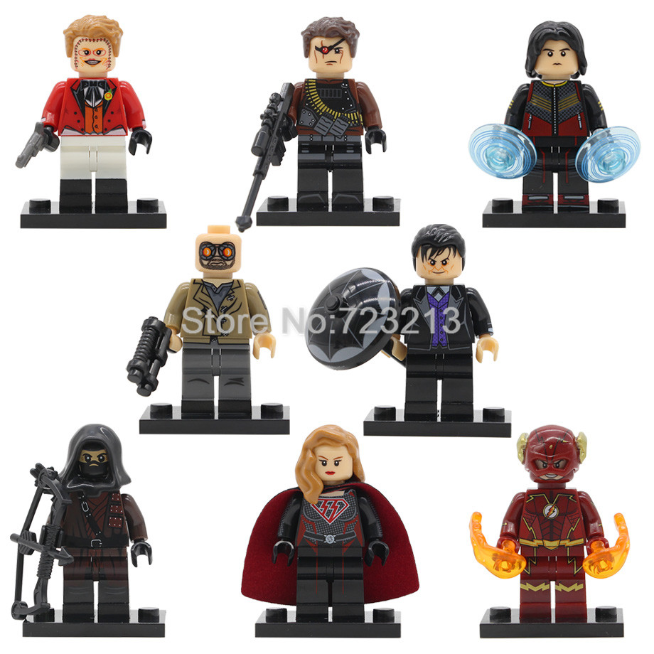 The Flash Figure Super Hero Dark Archer Over Girl Penguin Joker Heat Wave Deadshot Vibe Building Blocks Brick Model Toys Legoing