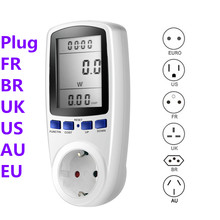 Medidor de vatímetro Digital, medidor de consumo de energía, medidor de energía, KWhV, analizadores de electricidad, enchufe EU AU US FR BR UK