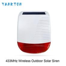 цена на 433MHz Wireless Outdoor Solar Siren Light Flash Strobe Waterproof Alarm Siren for Home Security Burglar WiFi GSM Alarm System