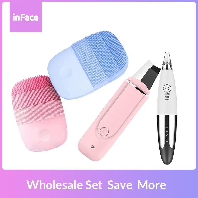 Original Inface Wholesale Bundle Skin Care Tools Smart Sonic Clean Electric Brush & Skin Scrubber & Blackhead Removal