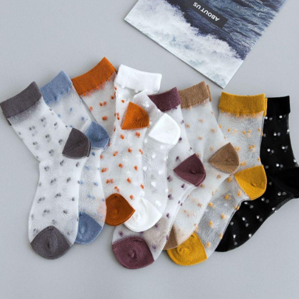 Summer Cool Vintage Breathable Transparent Ultra-thin Crystal Women Socks Dots Socks Women Original Soft Fashion Women Socks