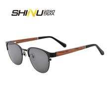 цена SHINU wooden sunglasses men polarized sun glasses myopia retro metal eyeglasses prescription male fishing eyewear  wood glasses онлайн в 2017 году