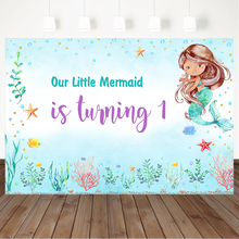 Little Mermaid 1st Birthday Background For Photography Underwater World Blue Backdrop Seaweed First Photo