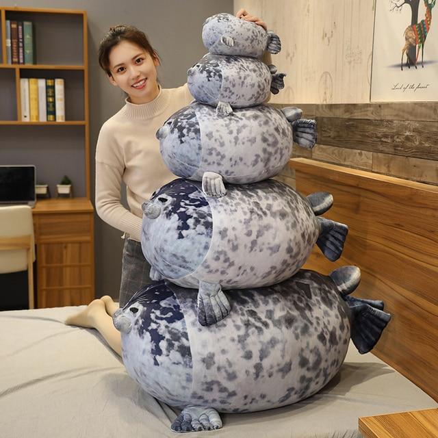 30~80cm New Seal Plush Toy Stuffed Aquatic Doll Kids Kawaii Plushie Comforting Ultra Soft Elatic Plush Girls Boys Gift 5 Sizes 1