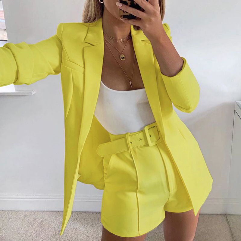 Brand New Office Lady Casual Short Suits Summer Ladies Solid Long Sleeve Blazer Coat And Shorts Belt Suit Women Workwear Clothes