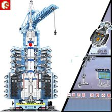 SEMBO Technic Military Aerospace Series Building Blocks Sets Remote Control Manned Spaceship Launch Base Bricks diy boys Toys(China)