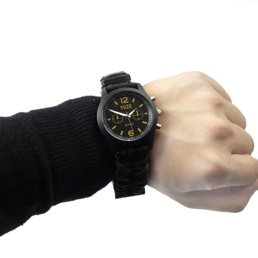 Jam Tangan Kuarsa Pria Outdoor Camping Kompas Peluit Baku Payung Tali Watch Gelang Pria Digital Olahraga Hadiah Pria Jam Tangan