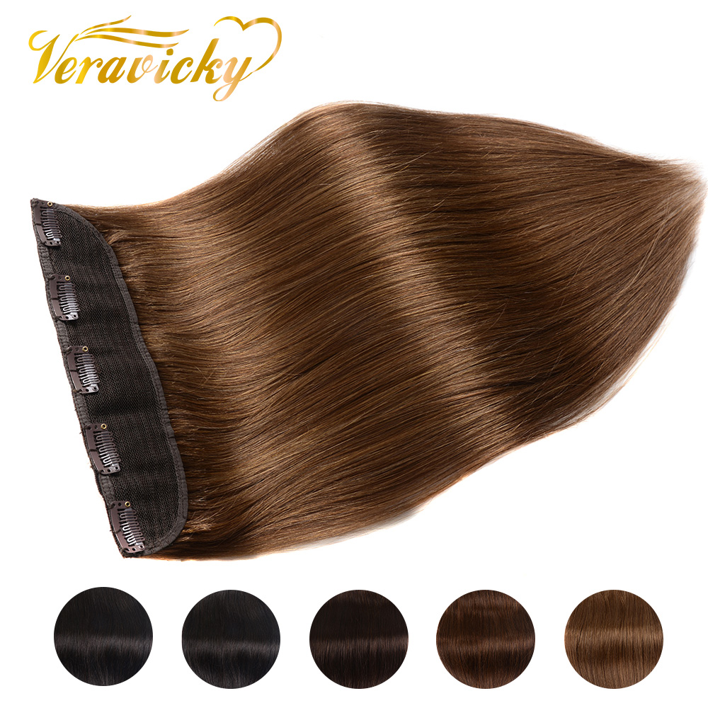 100g 120g Clip In One Piece Brazilian Hair Clips Tic Tac 5 Clips Machine-Made Remy Hair Piece Natural Straight Clip Human Hair