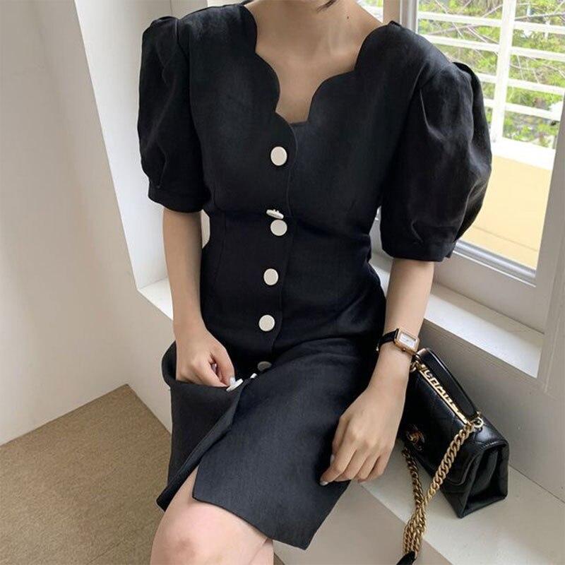 2020 Summer Dress Women Vintage French V-neck Wave Edge Design Single-breasted Slim Waist Puff Sleeve Plaid Dresses Female BW240