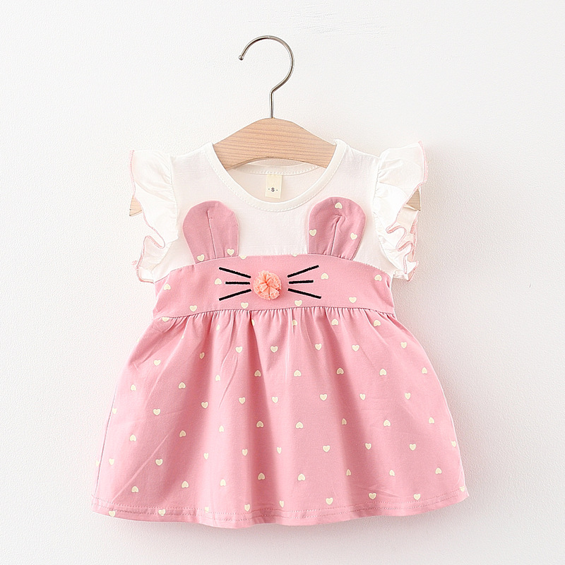 Melario Baby Girl Dress New Summer Kids Dresses Cute Love Printing Rabbit Ears Baby Outfit Infant Toddler Clothes for 6M 24M
