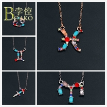BOAKO Crystal necklace women zodiac pendant necklace constellation horoscope rhinestone chokers necklace girl sweater chain B5