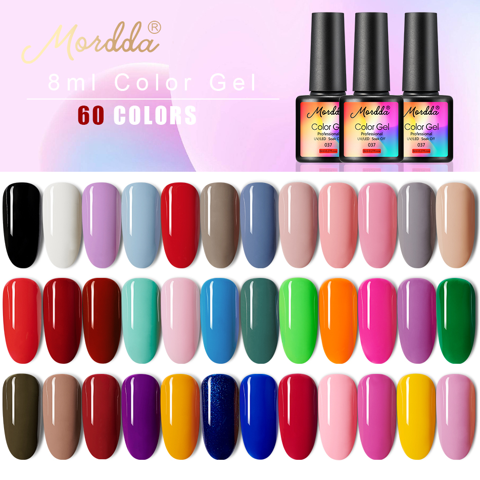 MORDDA Gel Polish UV LED Gel Varnish Soak Off Nail Lacquer Long Lasting Hybrid Gel Painting For Home Use Need Matte Top Coat