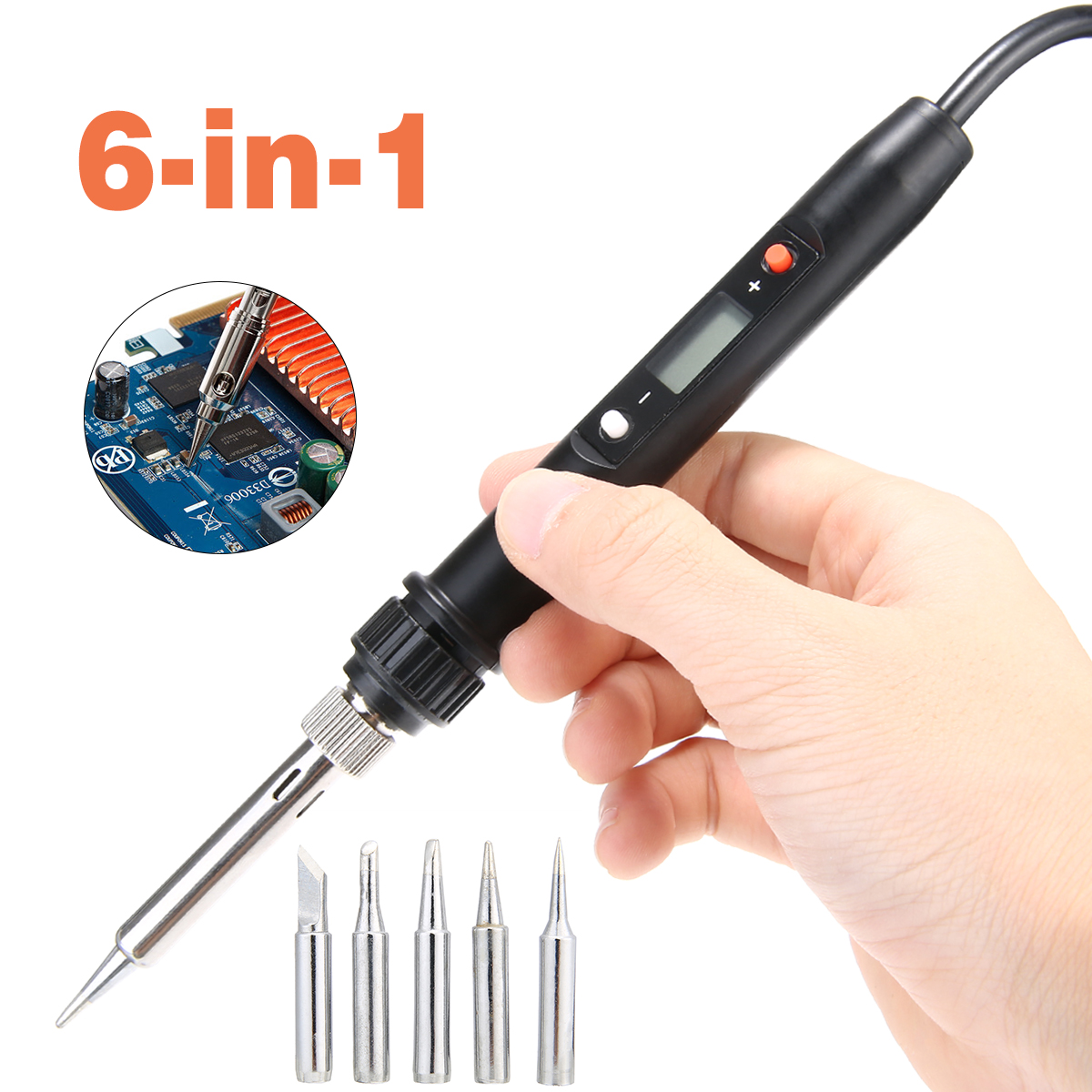 6in1 Electronics Soldering Iron Kit 80W Power Soldering Iron Adjustable Temperature With 5 Iron Tip Nozzles CPU Digital Control