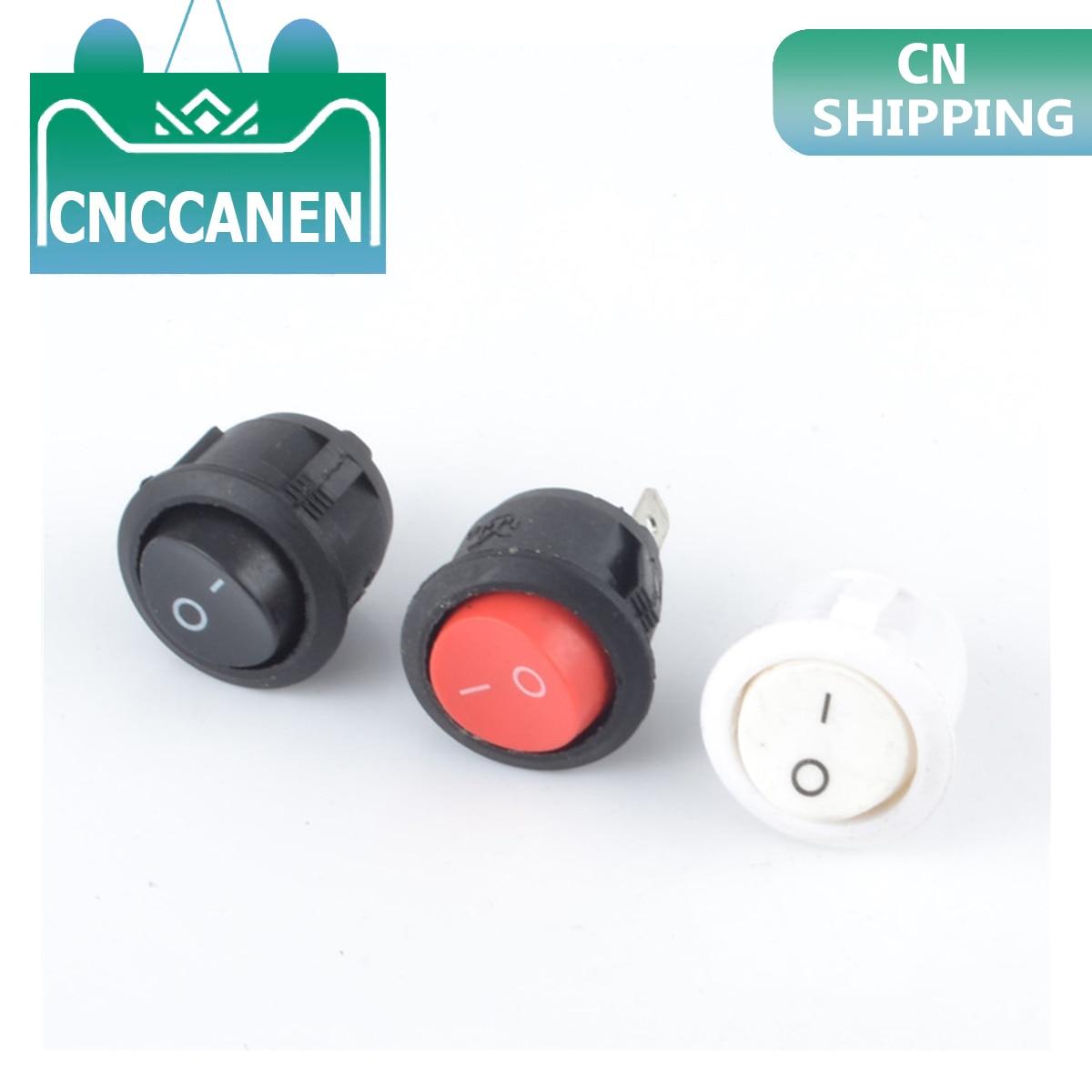 Красный черный белый 20 мм Диаметр Вкл/Выкл круглый Кулисный тумблер 6A/250VAC 10A 125VAC Пластиковый Кнопочный Переключатель