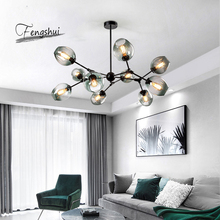 Nordic Ball LED Chandelier Lighting Modern Glass Decor Chandeliers Ceiling for Living Room Bedroom Couture Hanging Lamp Lustre modern led chandelier lighting transparent glass bubble ball chandeliers for living room lustre de cristal lustre para sala lamp