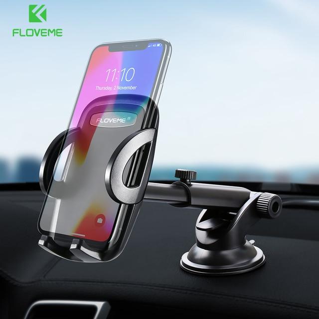 FLOVEME Luxury Car Phone Holder For iPhone XS Max 360 Rotation Phone Mount Holder Windshield Mount Stand Support Telefon Tutucu