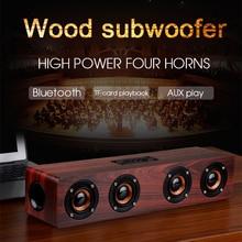 цены 20W Wooden Portable speaker Wireless Bluetooth Speaker Soundbar Subwoofer HIFI bass sound bar home theater system TF USB radio