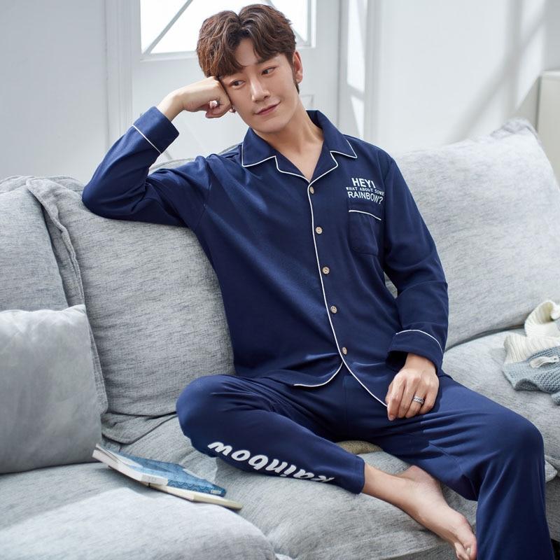 Sleepwear Men Homewear-Suit Pajamas Male Winter Sets Casual Autumn Turn-Down-Collar Man's