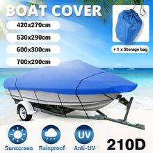 Housse de protection de bateau bleu, 11 22 pieds, 210D, imperméable, Anti UV, bateau rapide, hors bord, bateau à coque en V, Yacht, protection dextérieur
