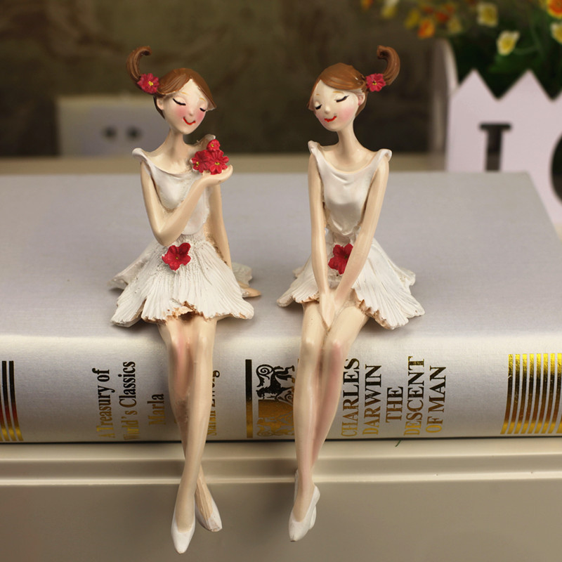 2pcs/set Beautiful Angel Resin Craft Fairy Figurines Wedding Gift Home Deskto Decoration Accessories Souvenirs