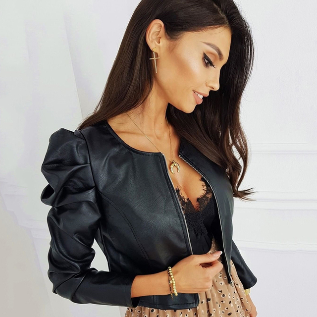 Black Faux Leather Jacket with O Neck for Women