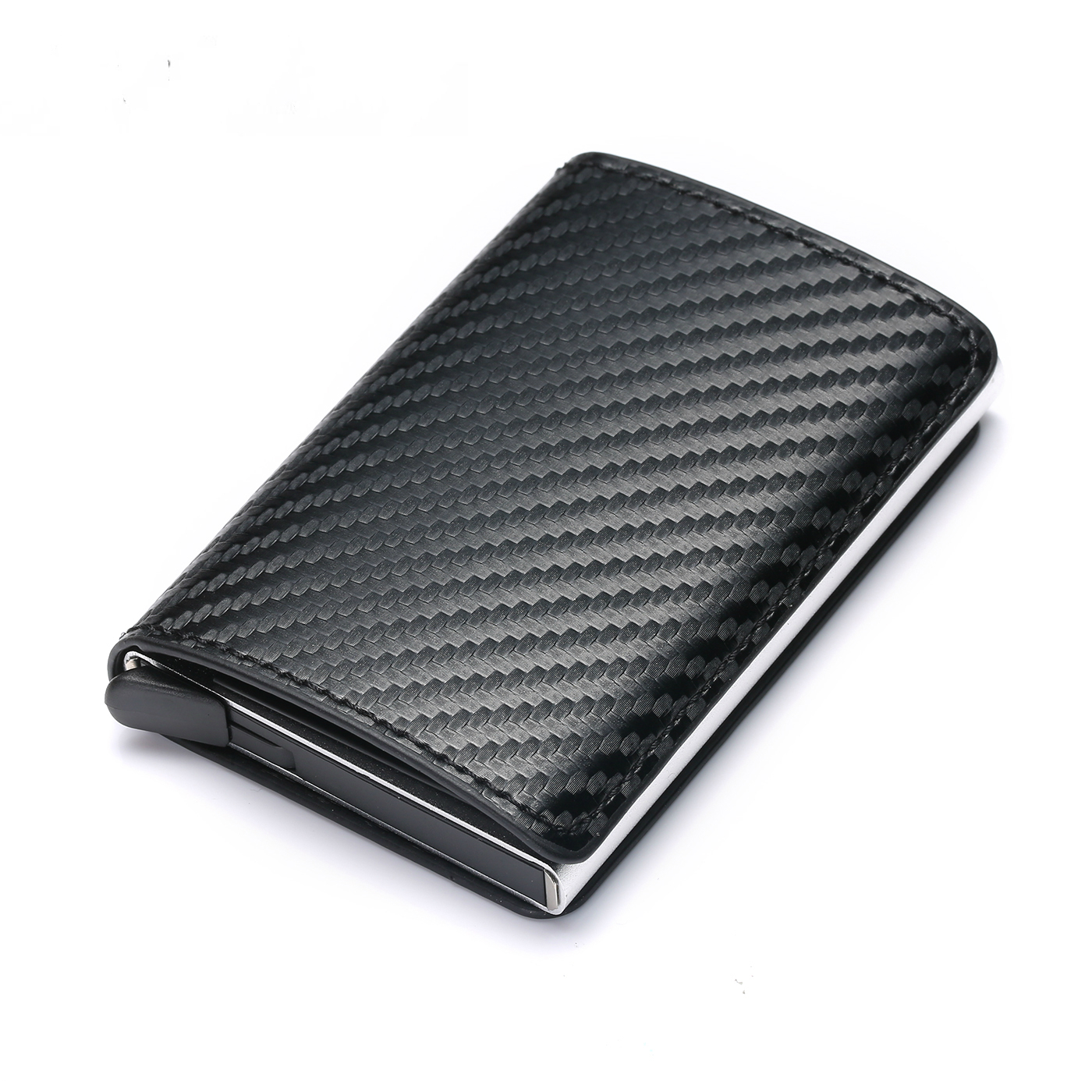 Bycobecy 2020 Fashion Credit Card Holder Carbon Fiber Card Holder Aluminum Slim Short Card Holder RFID Blocking Card Wallet