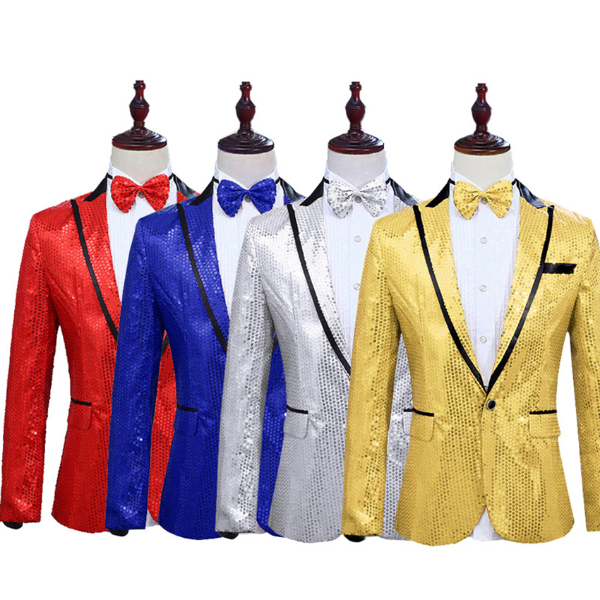 Sequins Men's Suit Jacket Performance Jacket Night Club Singer Presides Over Coat Host Studio Suit Clothes Costume Clothes Tops