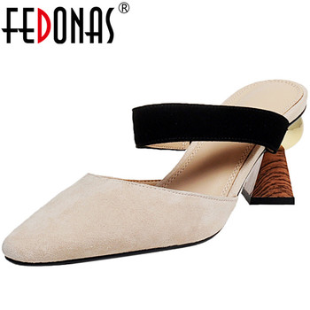 FEDONAS Women 2020 New Arrival Mary Jane Kid Suede Pumps Pointed Toe Slippers Thick Heels Prom Shoes Summer Sandals Shoes Woman