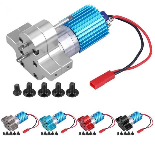تغيير سرعة صندوق التروس علبة التروس المعدنية مع 370 فرشاة المحرك أنودة العلاج ل المبرد و قاعدة تثبيت ل WPL 1633/1632 RC سيارة