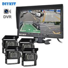 Car-Led-Camera Rear-View QUAD DIYKIT Video-Recording Monitor AHD 4 Waterproof with 4-Split