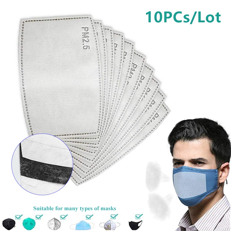 10Pcs/Set PM2.5 Anti Haze Mouth Mask Replaceable Filter 5 Layers Non-woven Adult Child Kids Activated Carbon Filters Pad Gasket