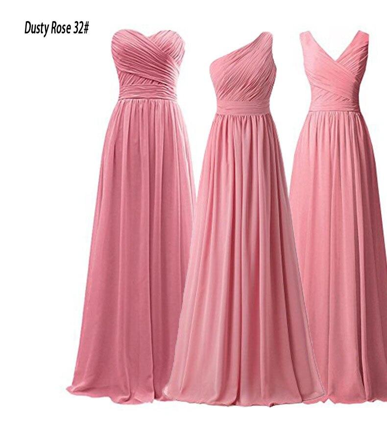Stock Cheap Chiffon A Line  Off Shoulder Pleat Floor Length Bridesmaid Dresses Wedding Party Dresses  Robe De Soiree