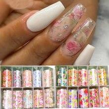 Folha de papel holográfica para unhas, folha floral de unha, transferência para arte em unhas, design de unhas acrílicas, 10 rolos/caixa