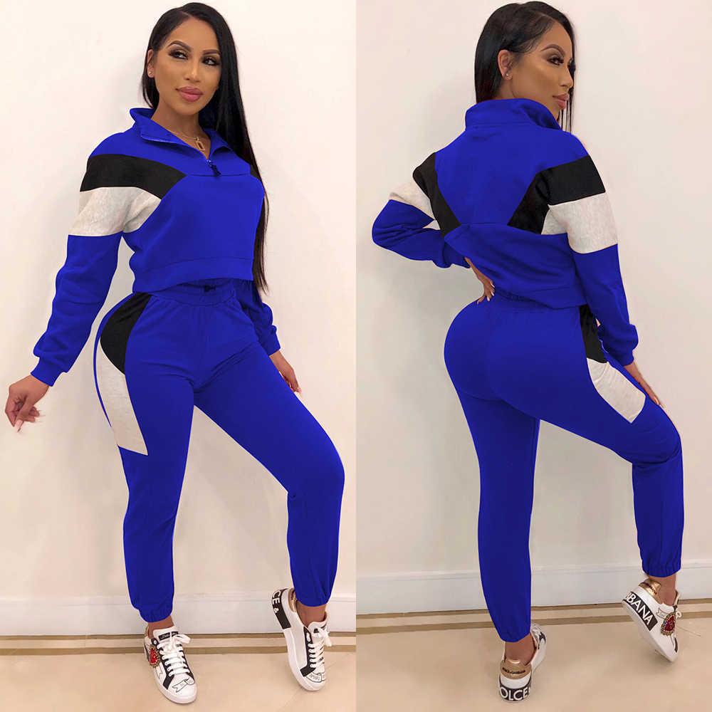 DUE PEZZI SET Donne Tuta Patchwork Top Jogger Pantaloni della Tuta Tuta Felpa Abbigliamento Sportivo 2 Pezzi Set Plus Size Autunno Inverno PC