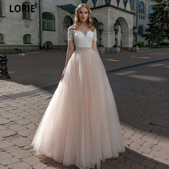LORIE Princess Wedding Dresses Champagne Tulle Lace Appliqued Beach Bridal Gowns Boho Short Sleeve Wedding Gowns with Sashes lorie champagne tulle wedding dresses beach boho lace appliques bridal gown o neck illusion short sleeve vintage wedding gowns