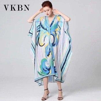 VKBN 2020 verano Bat Sleeved vestido Mujeres Nuevo v-cuello suelto grande elegante vestido Vestidos De Fiesta