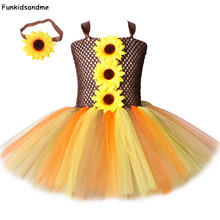 Sunflower Girls Tutu Dress with Headband Kids Fall Woodland Fairy Dress Costume for Girls Halloween Thanksgiving Party Dresses(China)